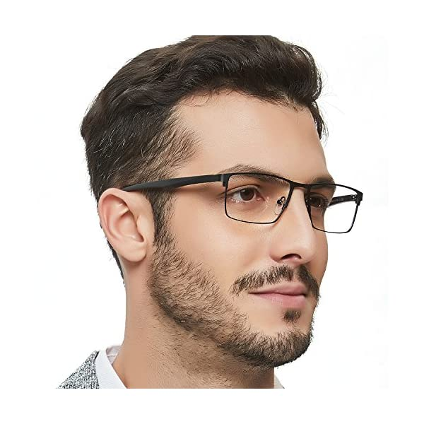 OCCI-CHIARI-Mens-Rectangle-Eyewear-Full-Rim-Metal-Non-Prescription-Clear-Optical-Glasses