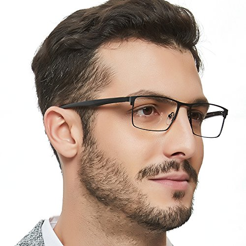 OCCI CHIARI Men's Optical Glasses Metal Eyewear Frame Equipped with Adjustable Silicone Nose 54mm Lens (Foot Black) by OCCI CHIARI