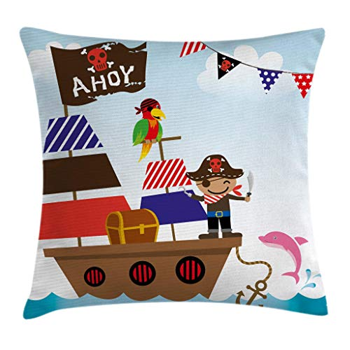 Ambesonne Ahoy Its a Boy Throw Pillow Cushion Cover, Cute Pirate Kids Treasure Chest with Ship on Ocean Background Illustration, Decorative Square Accent Pillow Case, 18 X 18 Inches, Multicolor -