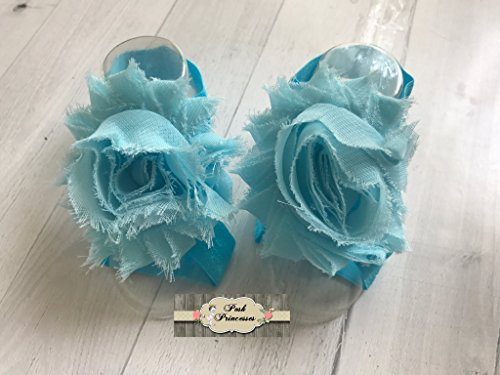 Barefoot Baby Footless Sandals, Teal Petal Baby Shoes, Flower Shoes, Baby Cake Smash, Birthday Girl, Any Size
