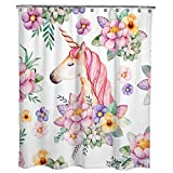 Cute Pink Shower Curtains Dimaka Pink Floral Cute Cartoon Unicorn Shower Curtain for Girls and Kids, Decoration Design Decor Water Resistant Repellent Double Side, Eco Friendly Water Proof Bathroom Curtain(71