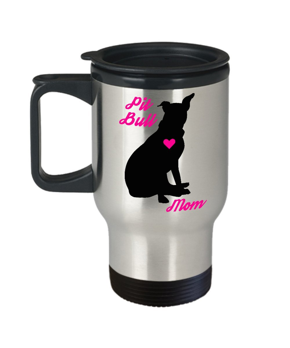 Pit Bull Mom Travel Mug - Insulated Portable Coffee Cup With Handle And Lid For Staffordshire Terrier Lovers - Nice Christmas Gift Idea For Women - Novelty Animal Lover Quote Statement Accessories