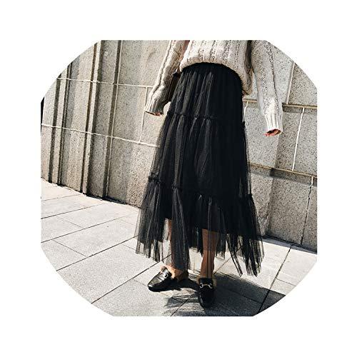 Autumn Women Elegant Black Mesh Tulle Pleated Panelled Long High Waist Maxi Skirt,Black,One Size