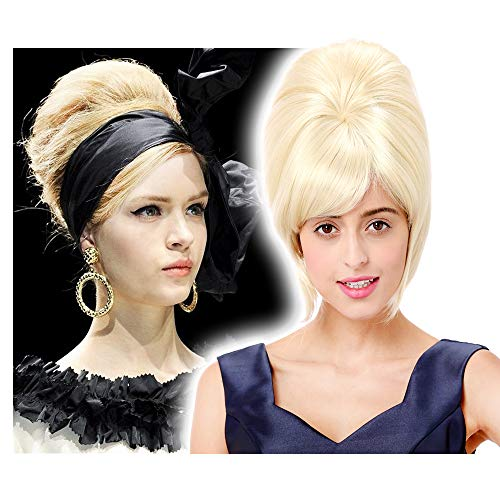 STfantasy Beehive Wig Platinum Blonde Bob Straight for Women 60s Bouffant Updo Hairstyle -