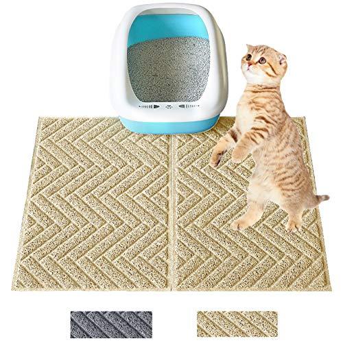 """Premium Cat Litter Mat (24"""" x 18"""" x 2 Pieces) Durable Litter Mat Kitty Litter Trapping Mat No Phthalate Soft on…"""