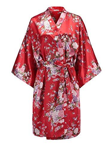 EPLAZA Women Floral Satin Robe Bridal Dressing Gown Wedding Bride Bridesmaid Kimono Sleepwear (red) ()