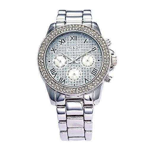 Sheli Platinum All Silver Stainless Steel Diamonds Accented Analog Quartz Bangle Watch for Women Wedding (Watch Bangle Diamond Steel)