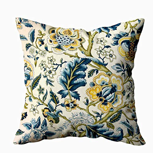 Shorping Throw Pillows for Couch, Zippered Covers Pillowcases 20X20Inch Throw Pillow Covers Floral Jacquard Print Blue Yellow Hues for Home Sofa Bedding (Couch Floral Print)