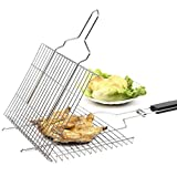 Toys Studio Portable BBQ Grilling Basket, 430 Stainless Steel Grilling Basket with Removable Wood Handle for Vegetable Fish Shrimp and Many Other Food for Kitchen Outdoor