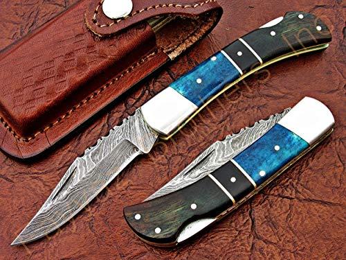 (FAYYAZ BROTHERS Handmade Damascus Steel Pocket Folding Knife/Pocket Knife AA-15276 to 15280 Back Lock (Turquoise Colored Bone and Natural Rose Wood))