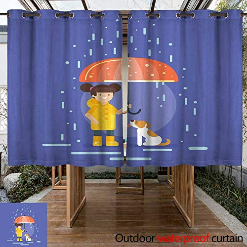 RenteriaDecor Home Patio Outdoor Curtain Vector Illustration of Smiling Girl in a Yellow Raincoat W108 x L72