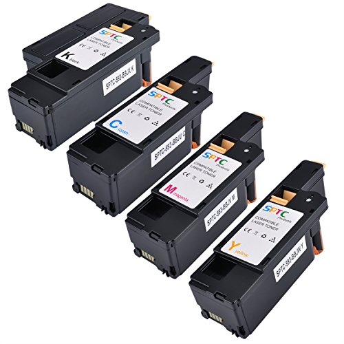 SPTC High Yield Compatible Dell E525W E525 525 Toner Cartridge set for Dell Color Multi Function E525W Printers 4 Pack Set ( Cyan, Magenta, Yellow, Black )