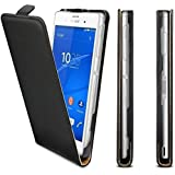 Sony Xperia Z3 Phone Genuine Leather Flip Case Slim Protective Cover Black+2 Screen Protector (Xperia Z3, Black)