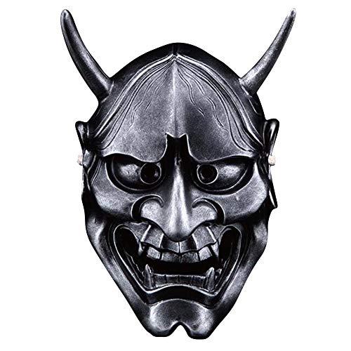 Resin Prajna Mask, Deluxe Scary Halloween Japanese Samurai Cosplay Helmet (Antique Silver)