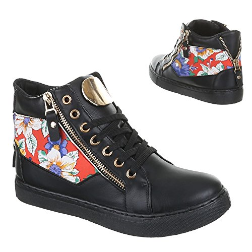 mujer de Ital Sintético Zapatillas para negro Material Negro Design w7wpzYqxf