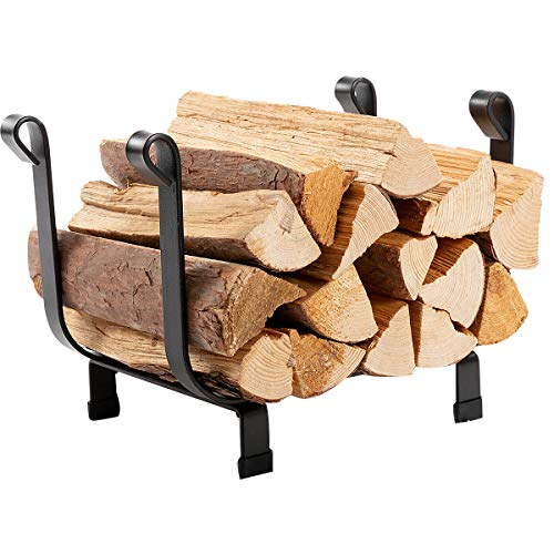 (DOEWORKS 17 Inches Small Decorative Indoor/Outdoor Firewood Log Rack Bin with Scrolls, Black)