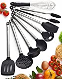 metal cook ware - Kitchen Utensil Set - 8 Best Kitchen Utensils - Nonstick Cooking Spatulas - Silicone & Stainless Steel Kit - For Pots & Pans - Serving Tongs, Spoon, Spatula Tools, Pasta Server, Ladle, Strainer, Whisk