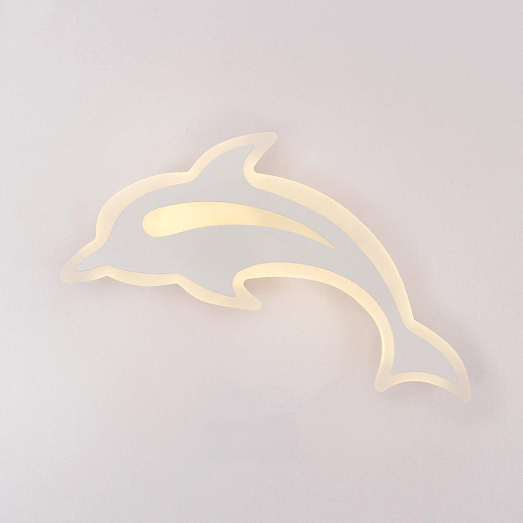 Illuminazione creativa camera da letto moderna e minimalista lampada da parete ha portato la lampada da comodino camera calda Dolphin bambini acrilico luci scale