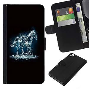 KingStore / Leather Etui en cuir / HTC Desire 820 / Fuego Mustang Horse Electricidad Agua Negro