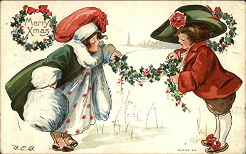 Two well dressed kids sharing holly Children Original Vintage -