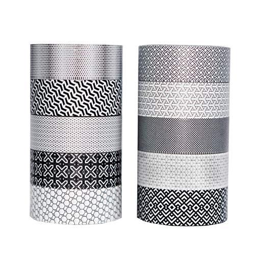 Washi Tape | Set of 10 | Japanese Masking Tape | Custom Pattern Rolls | Black & White Geometric
