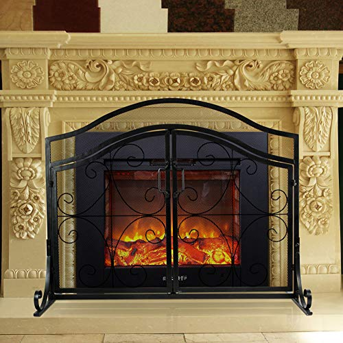 INNO STAGE Fireplace Screen with 2 Doors, Wrought Iron Fire Place Panel, Large Decor Standing Gate with Mesh Cover for Baby Safe, Spark Guard and Wood Burning Hearth Accessories