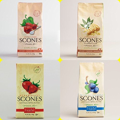 Sticky Fingers Bakery Scones - Sticky Fingers Scone mix Variety Pack of 4 (Salted Caramel, Gingerbread with Lemon Glaze, Strawberry, & Blueberry) 15 oz. Each - Perfect for Christmas Gifts Set