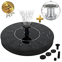 Apexan Solar Powered Floating Fountain, Outdoor Water Fountain, Water Aeration Pump for Pond, Pool, Garden, Fish Tank, Aquarium Bundle with a Solar Floating Light