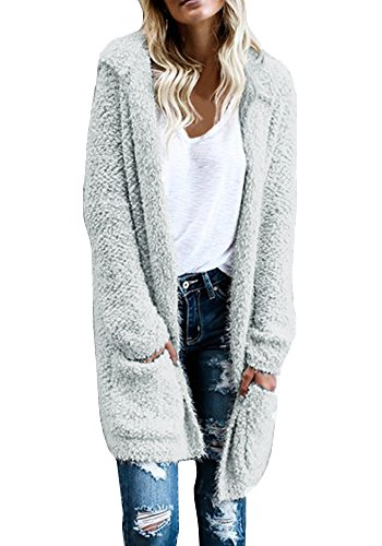 Bbalizko Womens Chunky Cable Knit Cardigan Hooded Sweaters Coat With Pockets