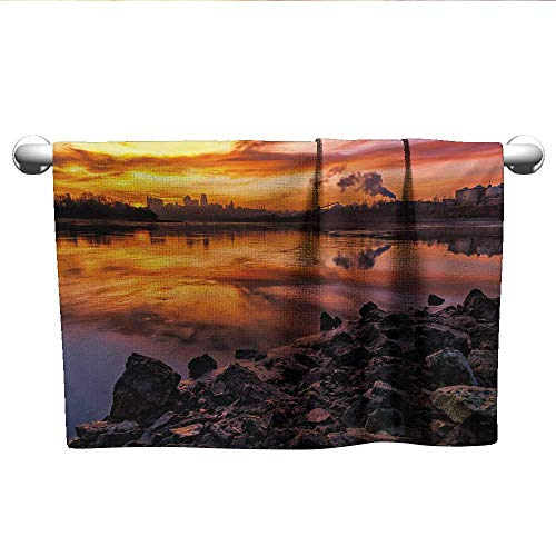 (Landscape,Best Bath Towels USA Missouri Kansas City Scenery of a Sunset Lake Nature Camping Themed Art Photo Pool Gym Towels Multicolor W 14