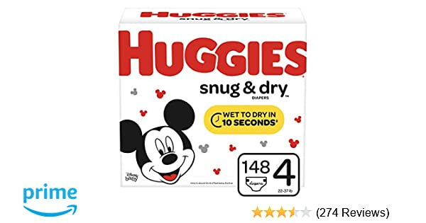 Amazon com: Huggies Snug & Dry Baby Diapers, Size 4 (fits 22