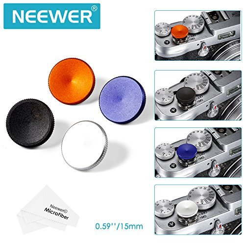 Neewer® 4-Piece 15MM Metal Soft Shutter Release Button Set (Black, Blue, Orange and Silver) with Microfiber Cleaning Cloth for Fuji Leica Canon Nikon Hasselblad Olympus Pentax Minolta (Shutter Button)