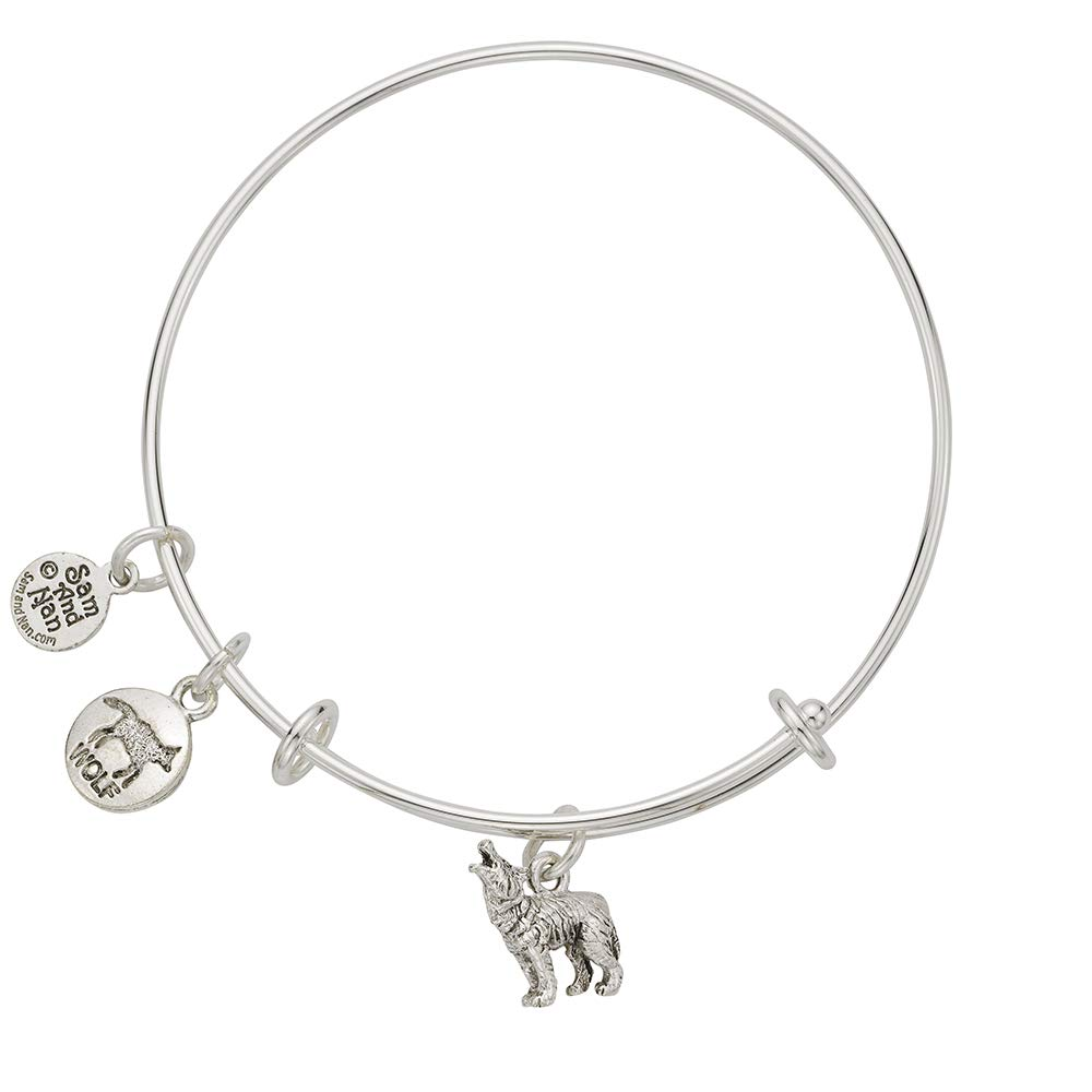SamandNan Wolf Paw Charm Bangle Bracelet Sterling Silver Finish Handmade USA
