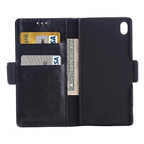 Beautiful & practical Textura de la piel del aceite horizontal Flip caja de cuero con titular y ranuras para tarjetas y cartera para Sony Xperia Z4 ( Color : Dark Blue ) Black