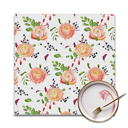 - Aliva Fast Placemats Pink Rose Grape Bunch Heat-Resistant Dining Table Place Mats Washable Kitchen Table Mats,Set of 4
