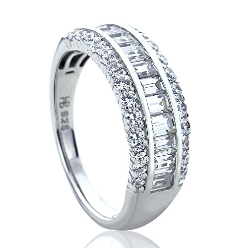 Platinum Plated Sterling Silver 0.8ct Baguette CZ Channel Wedding Anniversary Ring ( Size 5 to 9 ), 5 by Double Accent