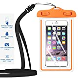 """Universal Waterproof Case,iBarbe Cellphone Dry Bag Pouch Outdoor for iPhone 7 6s 6 Plus SE 5s 5c 5, Galaxy s8 s7 s6 edge, Note 5 4, LG G6 G5,HTC 10,Sony Nokia, diagonal Devices up to 5.7""""(orange)"""