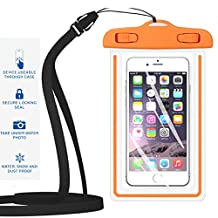 "Universal Waterproof Case,iBarbe Cellphone Dry Bag Pouch Outdoor for iPhone 7 6s 6 Plus SE 5s 5c 5, Galaxy s8 s7 s6 edge, Note 5 4, LG G6 G5,HTC 10,Sony Nokia, diagonal Devices up to 5.7""(orange)"