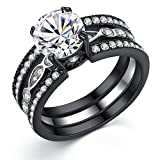 MABELLA CZ Black Wedding Band Engagement Ring Sets Stainless Steel Round Cut Cubic Zirconia Size 7