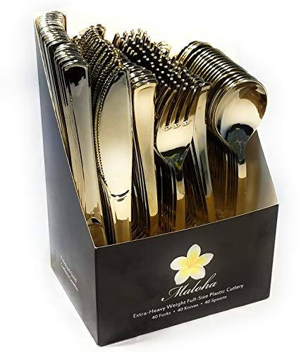 120 Gold Plastic Silverware Set | Gold Plastic Cutlery Set | Heavy Duty Disposable Gold Plastic Utensils | 40 Plastic Forks, 40 Plastic Spoons, 40 Plastic Knives | Bulk Gold Party Decorations Set