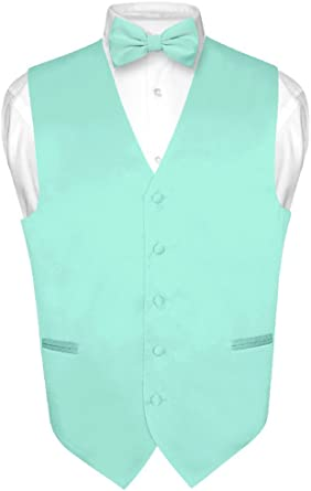 Men/'s Solid Aqua Green Polyester Vest with Pre-Tied Bowtie and Handkerchief for Formal Occasions