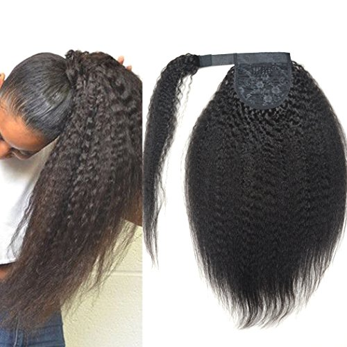 BLUPLE Kinkys Straight Human Hair Ponytail with Wrap Around Double Weft Unprocessed Brazilian Virgin Hair Kinky Yaki Clip in Hair Extensions Natural Color 100g/pcs (20 inches, Kinky Straight) ()