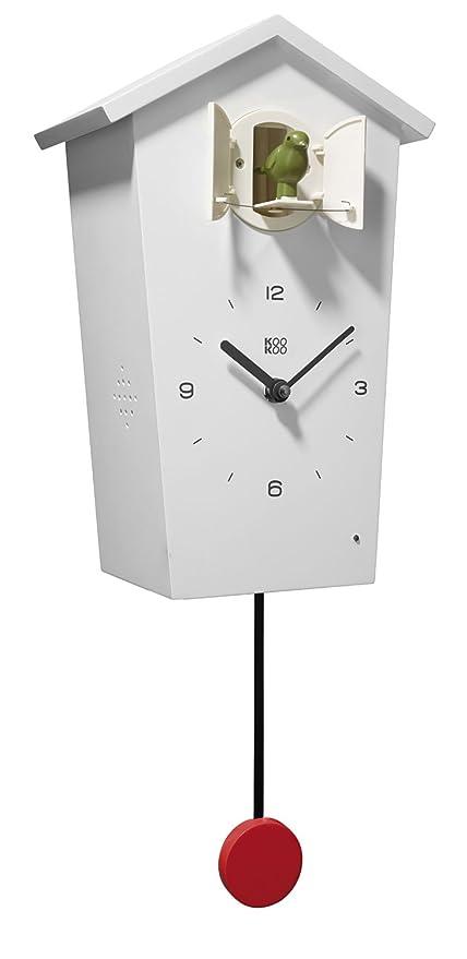 KOOKOO BirdHouse blanco reloj de pared con 12 aves sonidos grabación ...