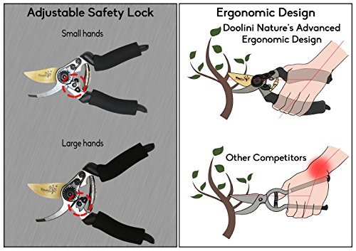 Doolini Nature Professional Pruning Shears - Bypass Garden shears,Drop Forged Hand Pruners Ergonomic Comfort Grip & Safety Lock by Doolini Nature (Image #3)