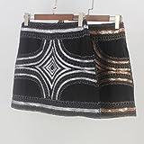 Fancy Apparel Women Retro Sequined Vintage Beaded Pencil Skirt High Waist Bodycon Mini Skirt