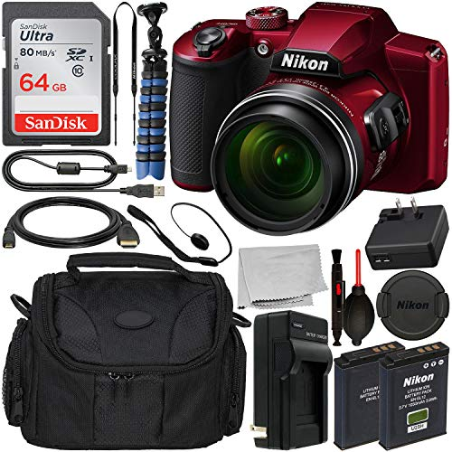 Nikon COOLPIX B600 Digital Camera (Red) 26528 with Essential Accessory Bundle - Includes: SanDisk Ultra 64GB SDXC Memory Card + Extended Life Replacement Battery (EN-EL12) + Carrying Case + More (Nikon Coolpix Flip)