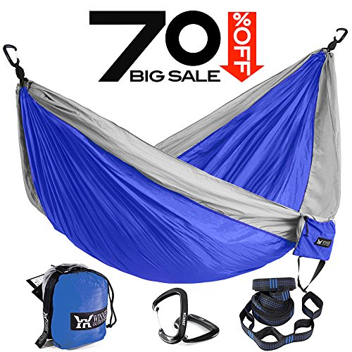 Double Nylon Hammock (Winner Outfitters Single Camping Hammock With Tree Straps - Lightweight Nylon Portable Hammock, Best Parachute Double Hammock For Backpacking, Camping, Travel, Beach, Yard Blue/Grey, 55