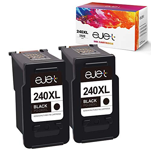 ejet 240XL 240 XL Remanufactured Ink Cartridge Replacement for Canon PG-240XL 240 XL 5206B001 for Pixma MG3620 TS5120 MG2120 MG3520 MX452 MX512 MX532 MX472 MG3120 MG3122 MG4120 High Yield (2 Black) (Canon Pixma Mg3222 Ink)
