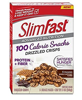 Slim-Fast Advanced Nutrition 100 Calorie Snacks, Drizzled Crisps, S'mores, 5 Snack Packs (Pack of 2)