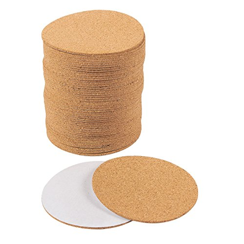(Self-Adhesive Cork Circle - 50-Pack Cork Backing Sheets for Coasters and DIY Crafts)